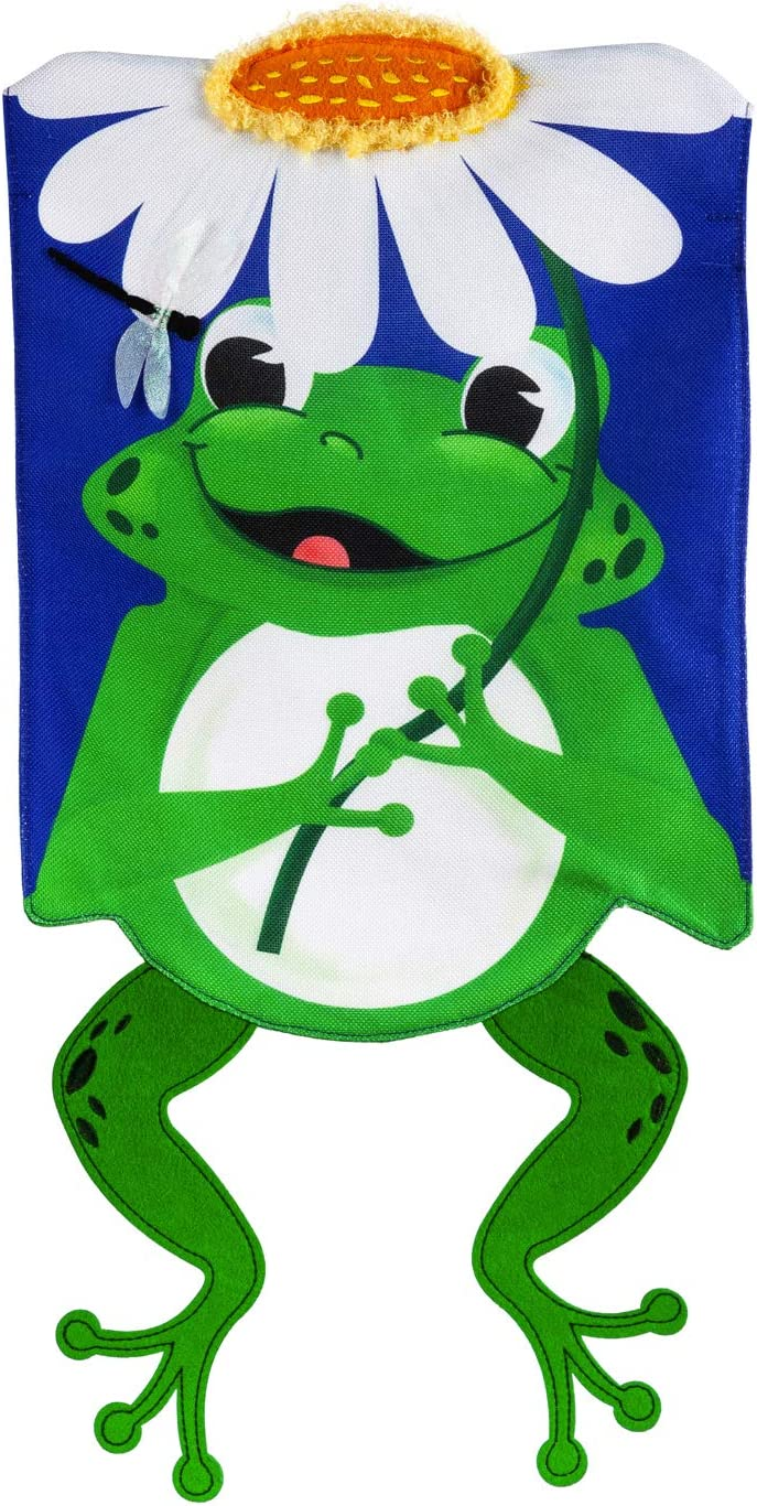 Evergreen Flag Shaped Frog Garden Burlap Flag 12.5 x 18 Inch Double Sided Durable Outdoor Flag for Homes and Gardens