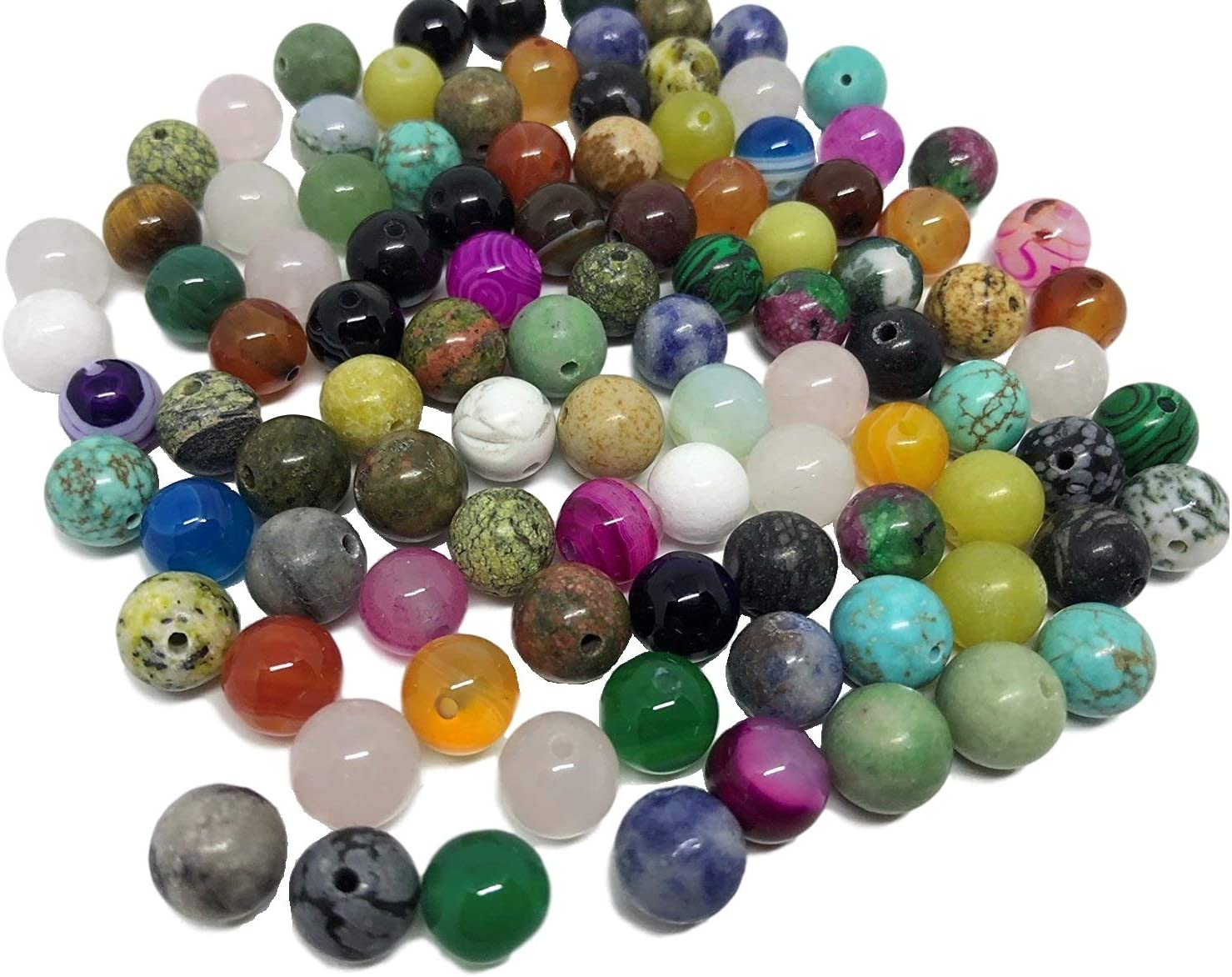 100 unidades de piedras semipreciosas variadas, para joyería, manualidades, obsidiana, aventurina, jade, ónix, ojo de tigre, malaquita, turquesa, cuarzo, cuarzo rosa, etc.