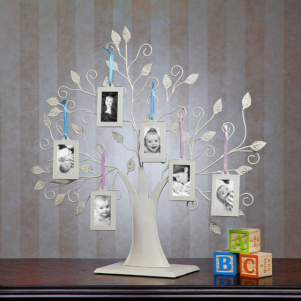 Klikel Baby Newborn White Metal Tree Display Stand with 6 2x3 Hanging Photo Picture Frames and Blue and Pink Ribbons