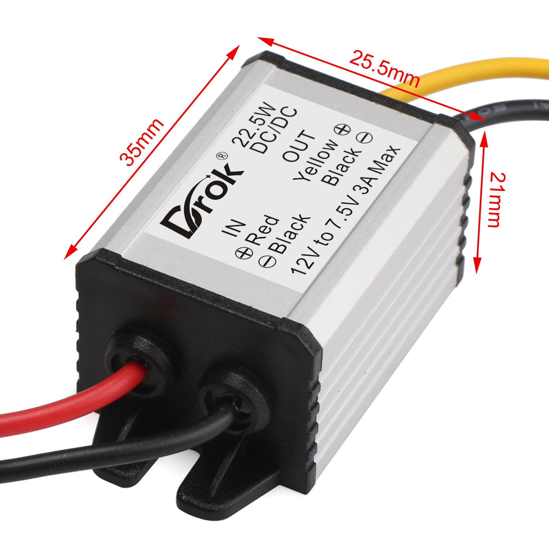DROK Buck Voltage Reducer Converter 12V to 7.5V 3A/22W Step-down Power Module DC/DC Voltage Transformer Regulator Power Supply Board for LED Display Radio by DROK (Image #7)