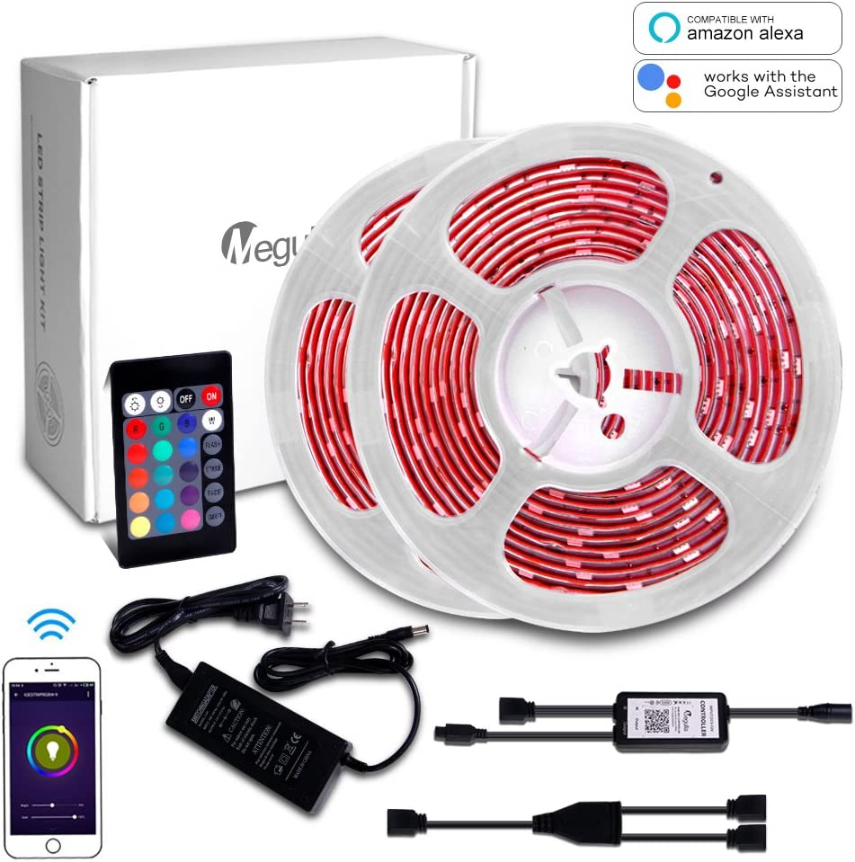 Amazon Com 32 8ft 10m Rgb Led Strip Light Megulla Multi Color Led Rope Tape Lights With Wireless Rf Remote And 12v Power Supply For Kitchen Living Rooms And Bedrooms Compatible With Alexa And Google Assistant