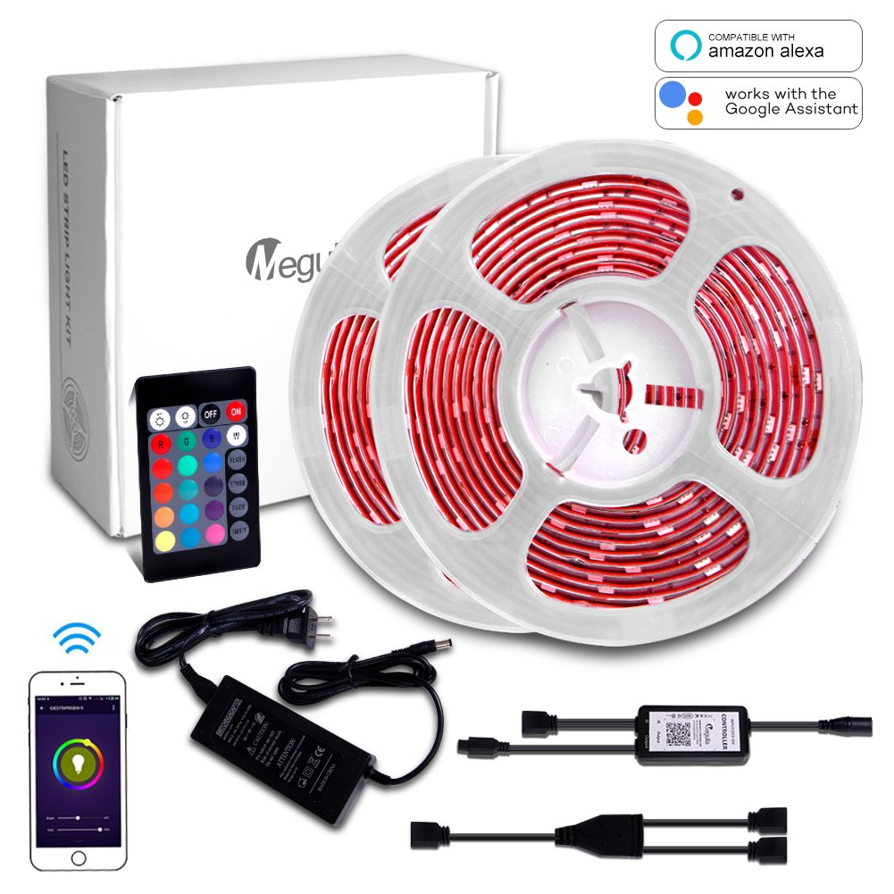 Megulla Waterproof RGB LED Strip Light Kit, Multi-Color LED Rope Lights with Wireless RF Remote and 12V Power Supply for Kitchen, Living Room and Bedroom (32.8ft/10m, RGB Kit (Alexa Compatible))