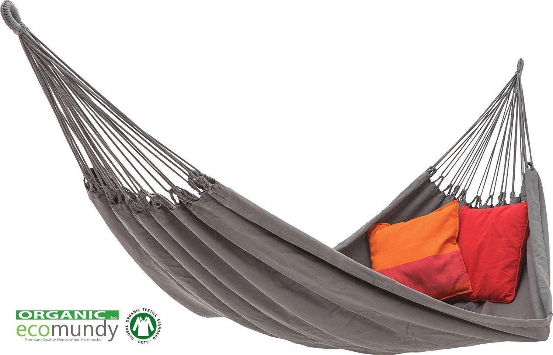ECOMUNDY Pure Bio XL 380 Anthrazit Hängematte - Moderne Premium Doppel Hängematte Anthrazit - handgewebt - Bio Baumwolle - GOTS - 160x260x380 cm - 250 kg 0b3e0f
