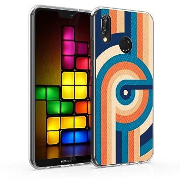 cute cheap best quality buying new kwmobile Coque Huawei P20 Lite - Coque pour Huawei P20 Lite - Housse de  téléphone en Silicone Bleu-Orange-Bleu foncé
