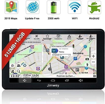 GPS, sistema de navegación para coche Camiones Automóviles 7 pulgadas Bluetooth Android 16 GB 512 MB gratis tarjeta Update pantalla táctil navegador GPS POI Flash Alerta de Voz Guía acoplamiento Asistente: Amazon.es: