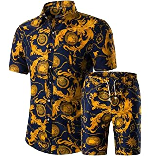 3ff37b02994d Rrive Mens Button Down Print Shirts Two Pieces Shorts Tracksuit Outfit Set