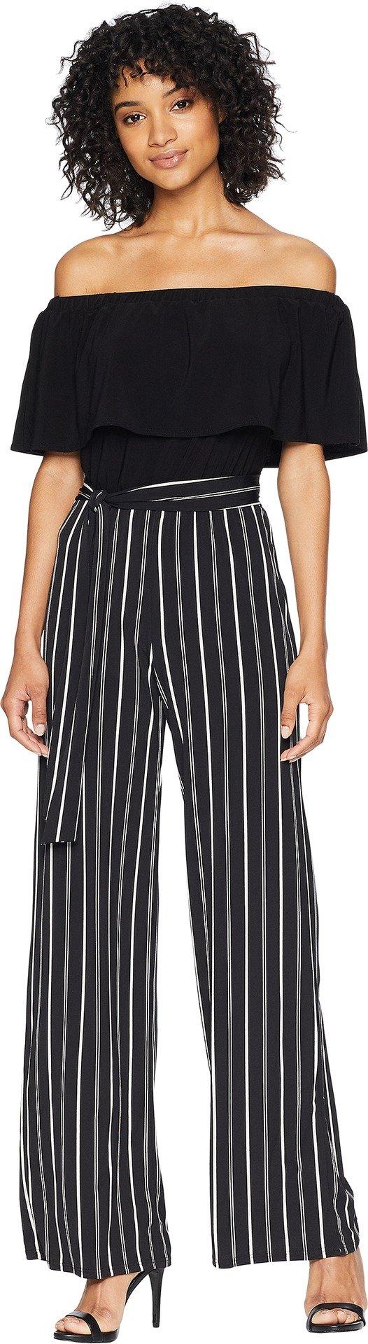bebe Women's Off The Shoulder Pin Stripe Jumpsuit, Black, 10