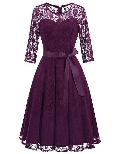 Vestido elegante, de encaje y manga 3/4 para cóctel. Opción de colores.