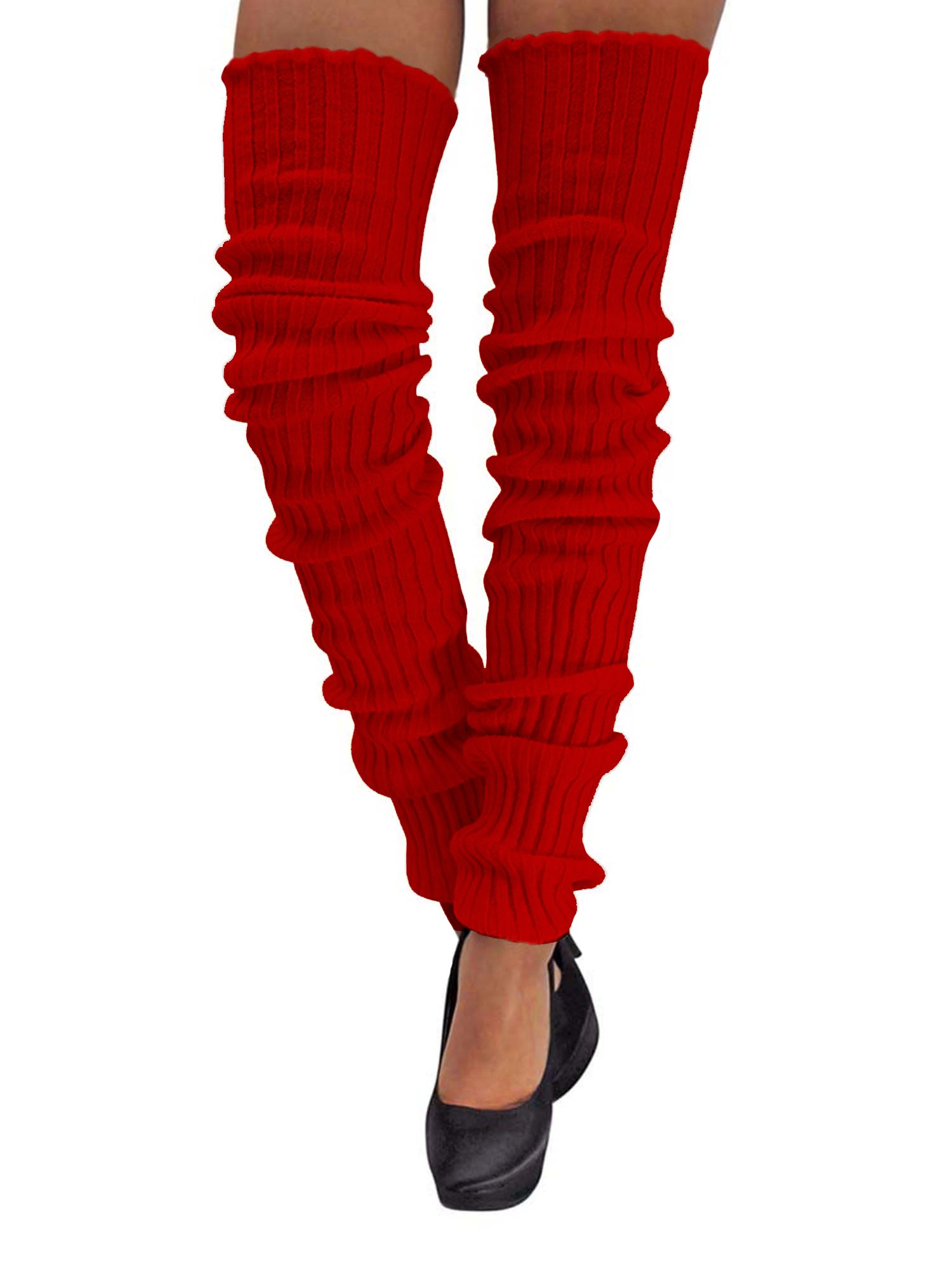Red Slouchy Thigh High Knit Dance Leg Warmers