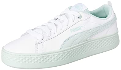 huge selection of 8c324 8f637 Puma Women s Smash Platform L White-Fair Aqua Leather Sneakers-8 (36648707)