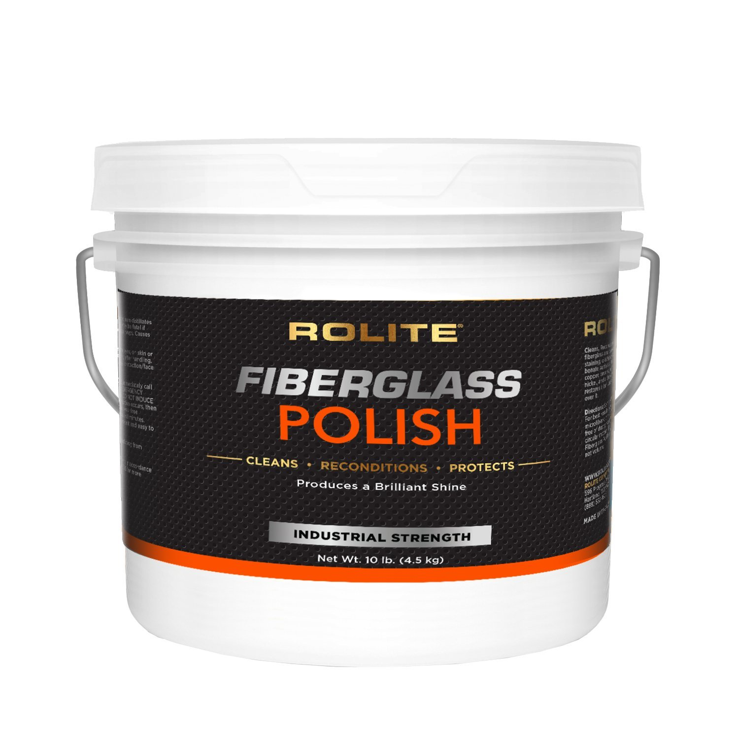 Rolite Fiberglass Polish (10lb) for Removing Water Spots, Staining, Oxidation & Hairline Scratches on Boats, Clearcoat, Acrylic and Polycarbonate