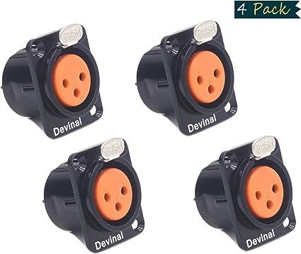 XLR Audio 3 Pin Female Socket  Connector Black Metal