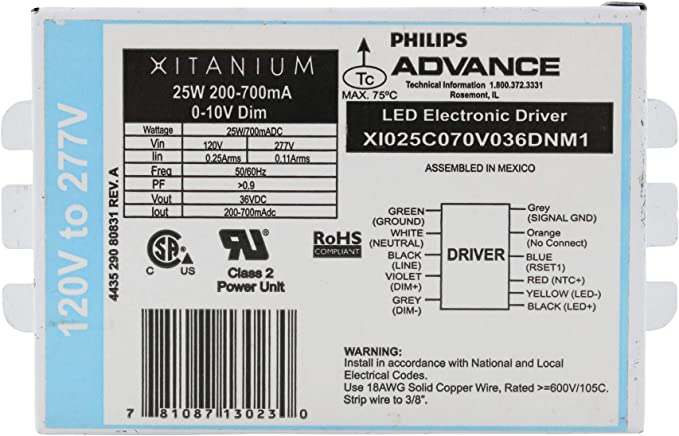 Advance Xi025c070v036dnm1 Xitanium Dimmable Led Driver 25w 200 700ma 120 277v Power Current Equipment Amazon Canada