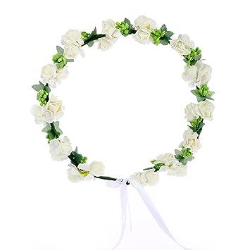Amazon awaytr flower wreath headband floral crown garland halo awaytr flower wreath headband floral crown garland halo for wedding festivals cream white mightylinksfo