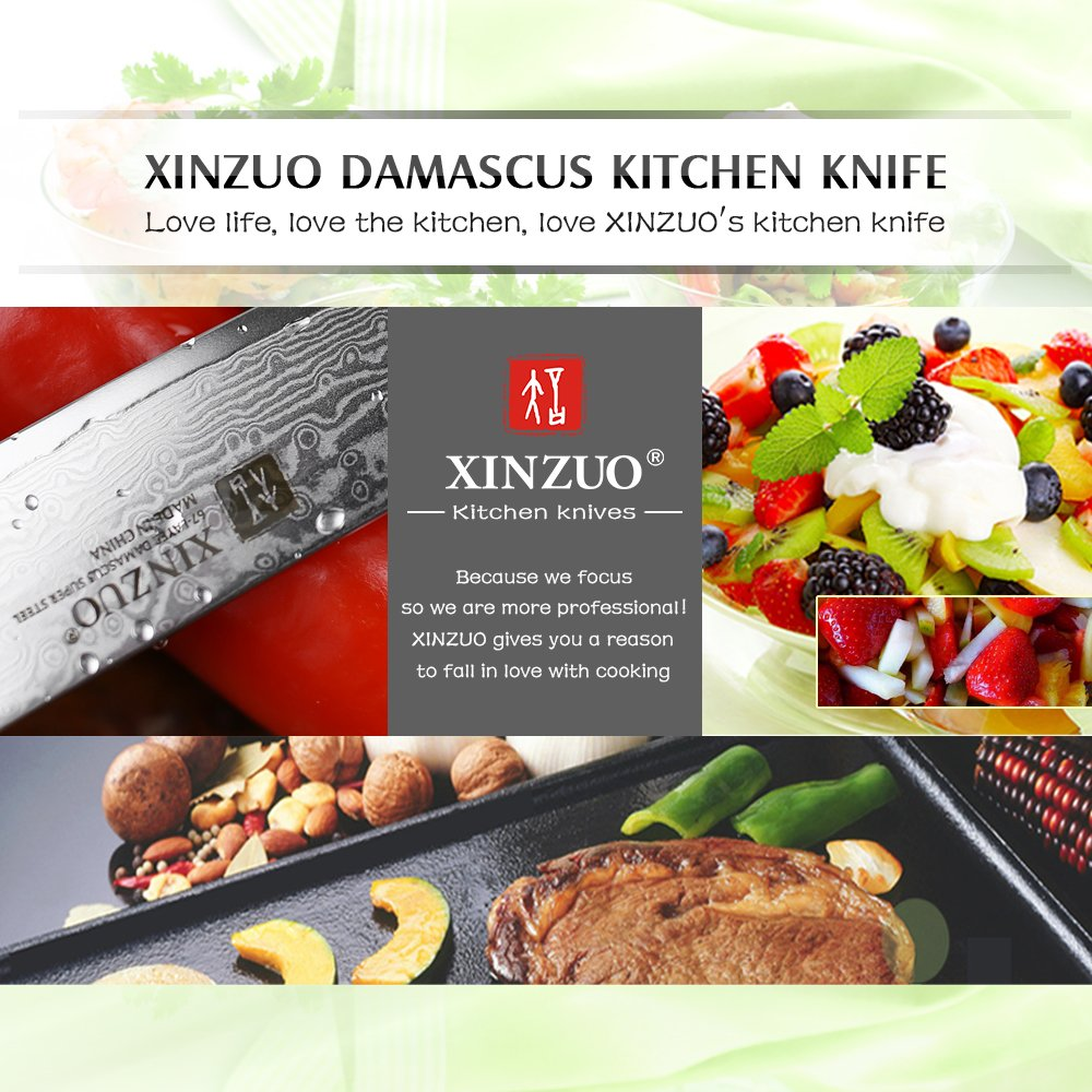 XINZUO 5 inch Utility Knife 67 Layer Japanese Damascus Steel Kitchen Knife Fruit Knife Peeling Knife with PakkaWood Handle - Ya Series by XINZUO (Image #6)