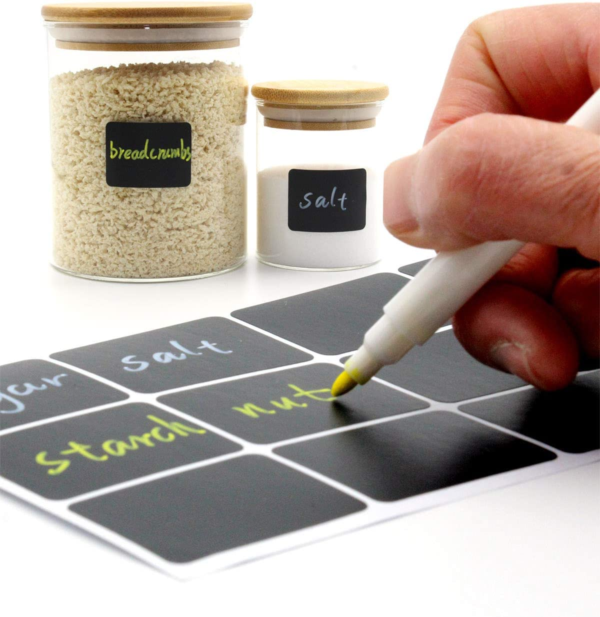 soiwell Chalkboard Labels for Storage Bins Chalk Sticker Label for Kitchen Spice jar,Food containers,Bottle,Garden Plants,Mason Jars, 120 squqre Labels with Liquid Chalk pens