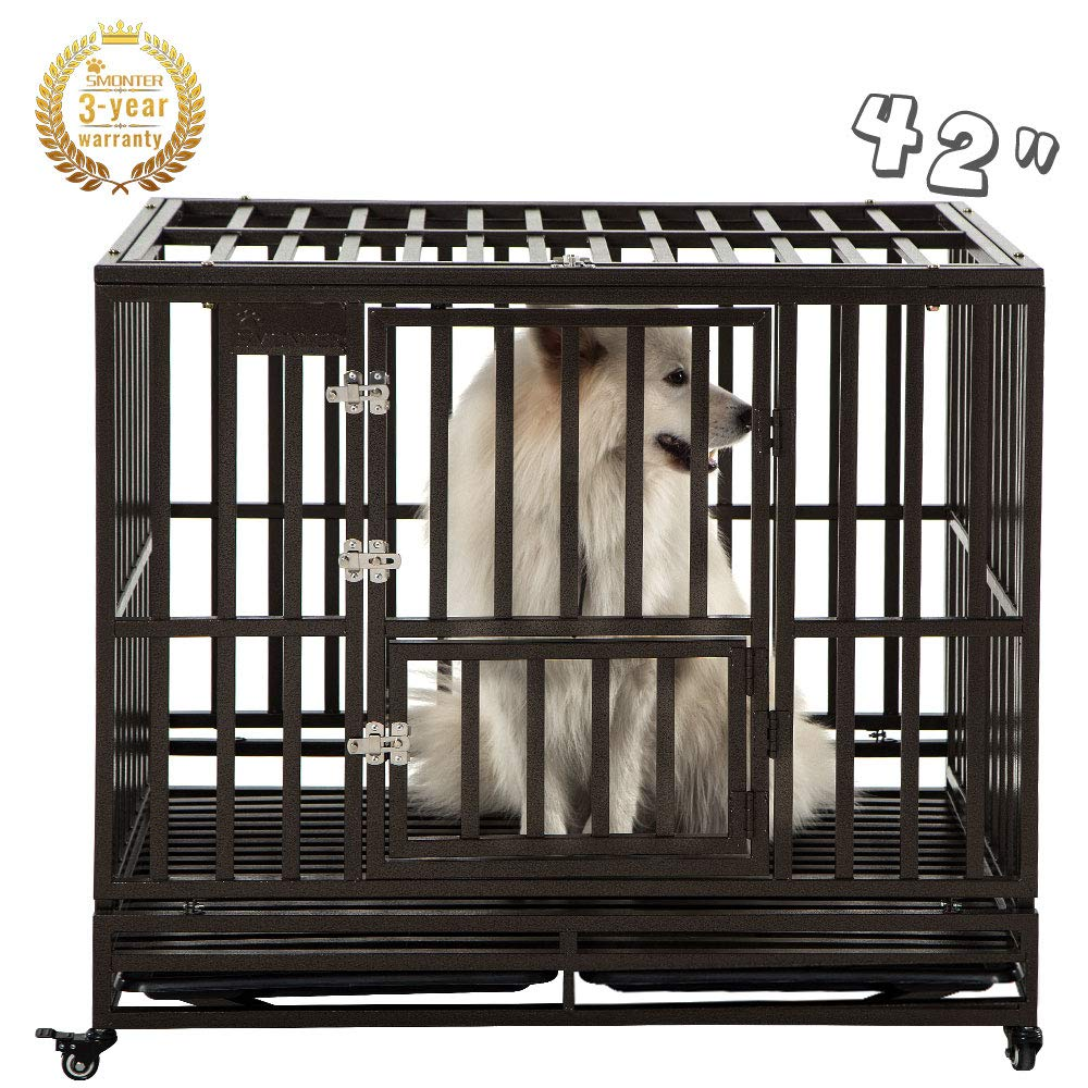 SMONTER 42'' Heavy Duty Strong Metal Dog Cage Pet Kennel Crate Playpen with Wheels, I Shape, Brown ...