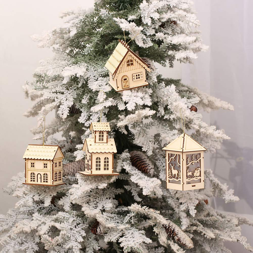 Handfly Pre-Lit Wooden House,Christmas Decoration with Warm LED Lights Battery Operated Hanging Pendants Baubles Table Decorations