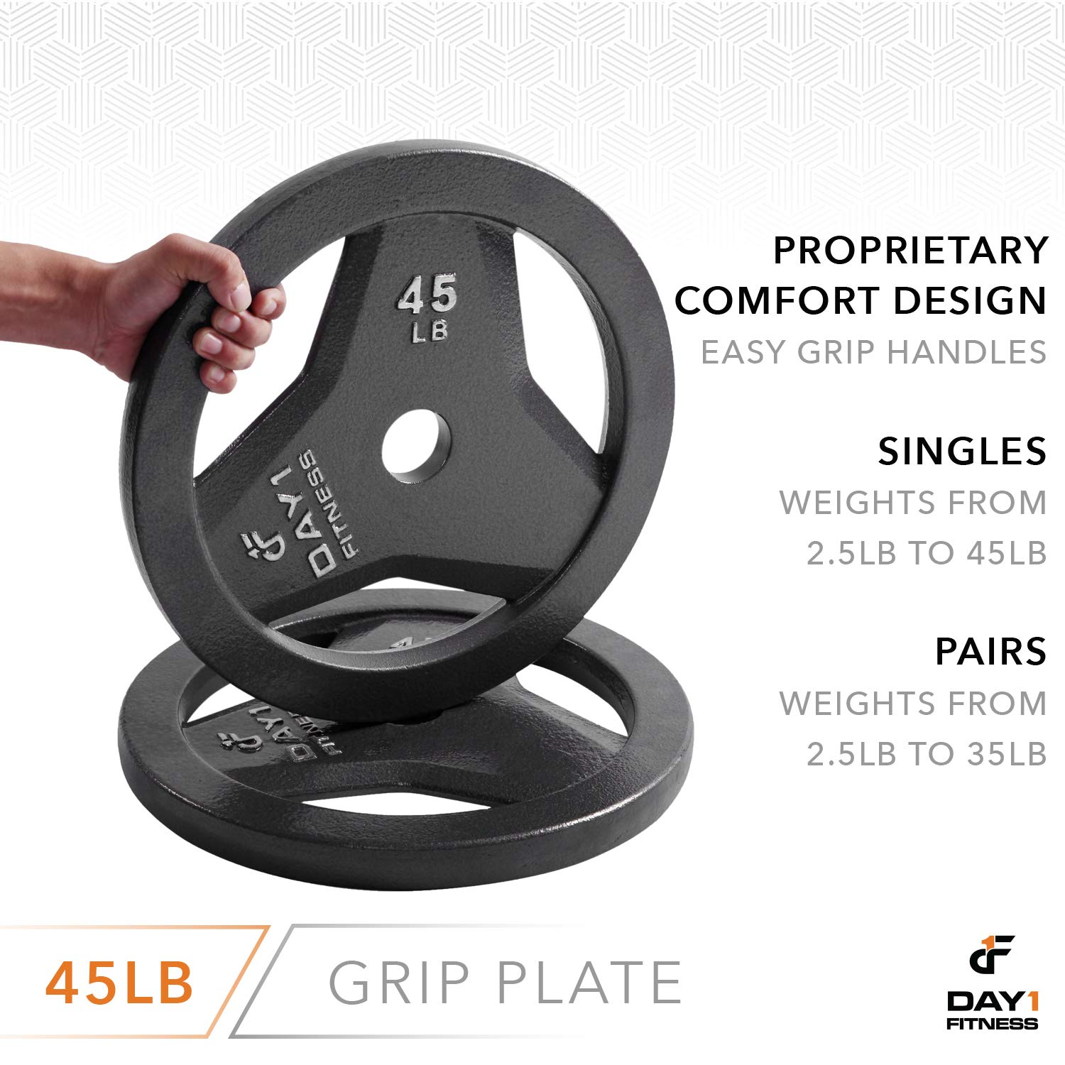 "Day 1 Fitness Cast Iron Olympic 2-Inch Grip Plate for Barbell, 45 Pound Single Plate Iron Grip Plates for Weightlifting, Crossfit - 2"" Weight Plate for Bodybuilding by Day 1 Fitness (Image #5)"