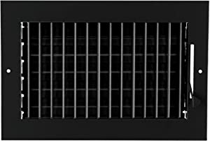"10""w X 6""h Adjustable AIR Supply Diffuser - HVAC Vent Cover Sidewall or Ceiling - Grille Register - High Airflow - Black [Outer Dimensions: 11.75""w X 7.75""h]"