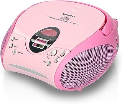 Lenco SCD-24 - Radio FM estéreo con reproductor de CD y antena telescópica, color rosa