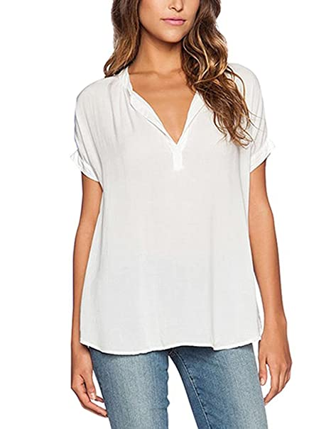 Camisa formal para las mujeres, camisa de gasa de verano, blusa suelta de mangas