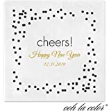 Cheers Confetti Personalized Beverage Cocktail Ooh La Color Napkins - Canopy Street - 100 Custom Printed Paper Napkins