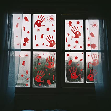 Pawliss 5 sheets halloween bloody handprint footprint window clings decals horror bathroom decor zombie walking