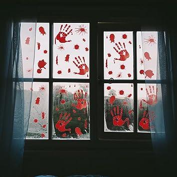 pawliss 5 sheets halloween bloody handprint footprint window clings decals horror bathroom decor zombie walking - Halloween Window Decals