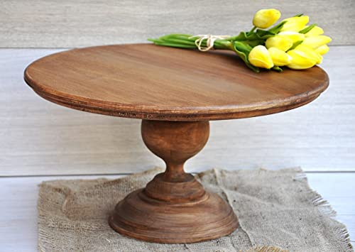Amazon.com: 16\'\' Rustic cake stand Wooden cake stands Wood cake ...
