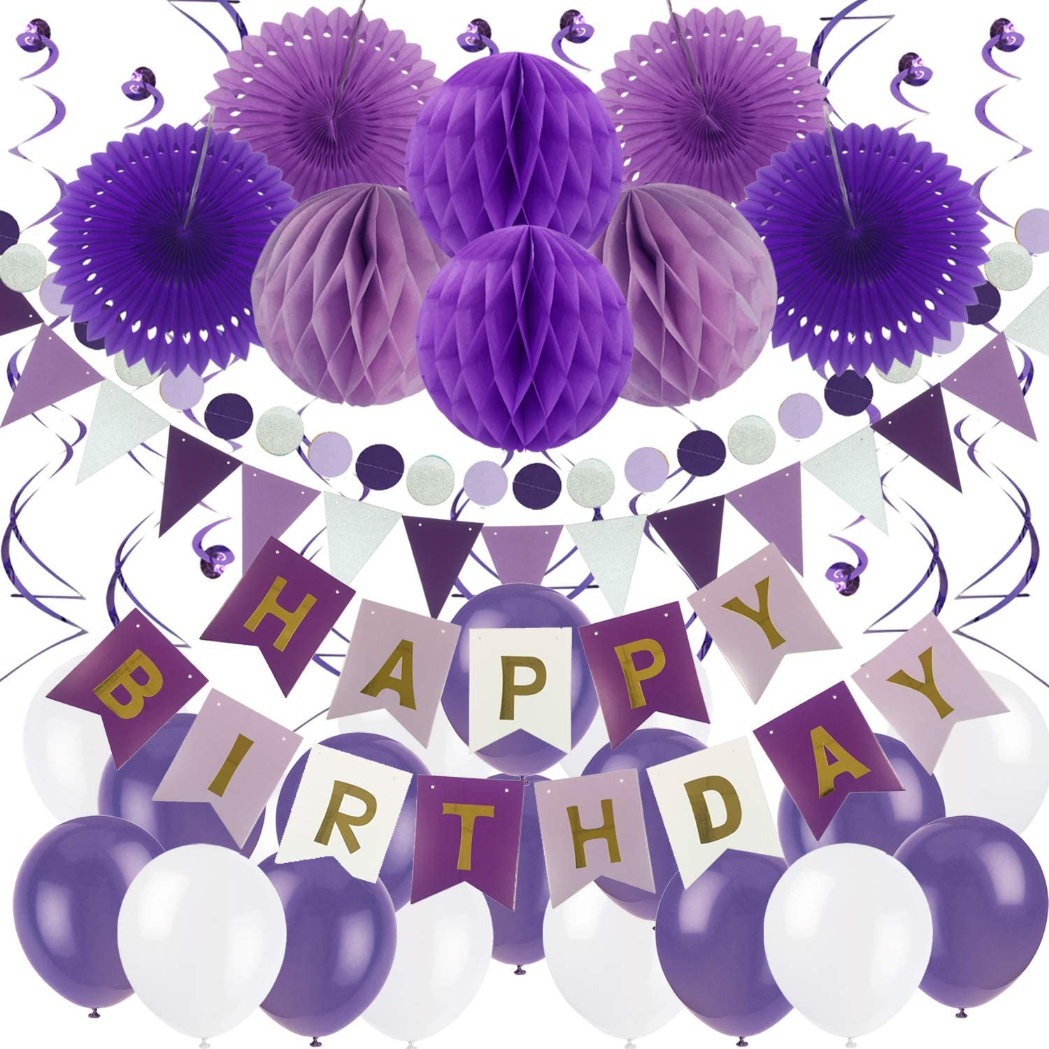 ZERODECO Birthday Party Decoration, Happy Birthday Banner with Paper Fans, Honeycomb Balls, Triangular Pennants, Circle Paper Garland, Hanging Swirls and Balloons - Purple, Lavender and White