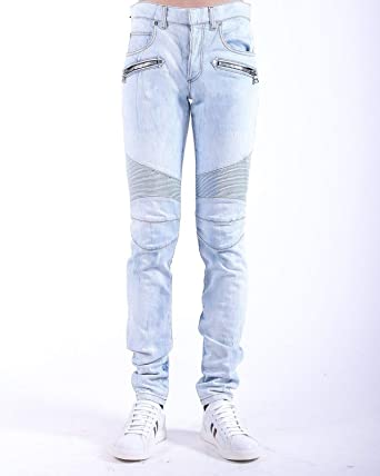 f1380a7c Image Unavailable. Image not available for. Color: Balmain Light Blue Biker  Skinny Authentic $950 Jeans ...