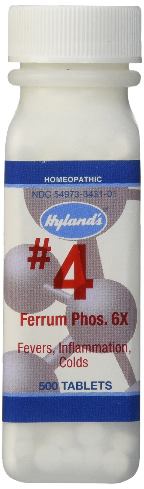 Decongestant and Sinus Relief, Inflammation Supplement, Natural Relief of Cold and Fever Symptoms, Hyland's #4 Cell Salt Ferrum Phos 6X Tablets, 500 Count