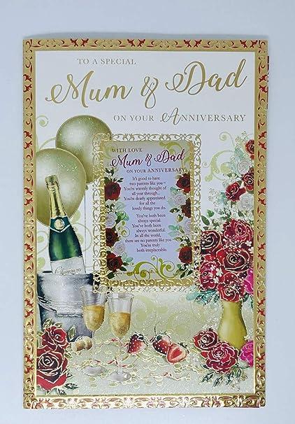 Carte D Anniversaire De Mariage Pour Maman Et Papa Carte Souvenir Gratuite Carte Unique Avec Insert Colore Amazon Fr Fournitures De Bureau