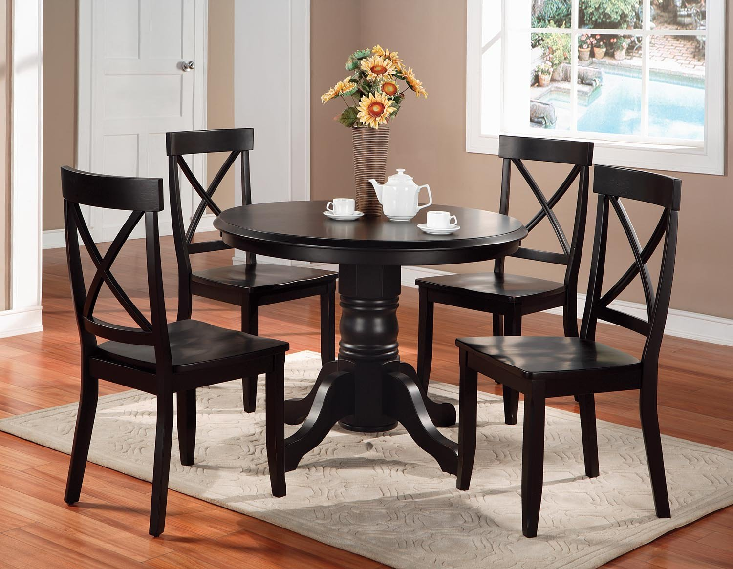 Amazon.com: Home Styles 5178-30 Round Pedestal Dining Table, Black ...