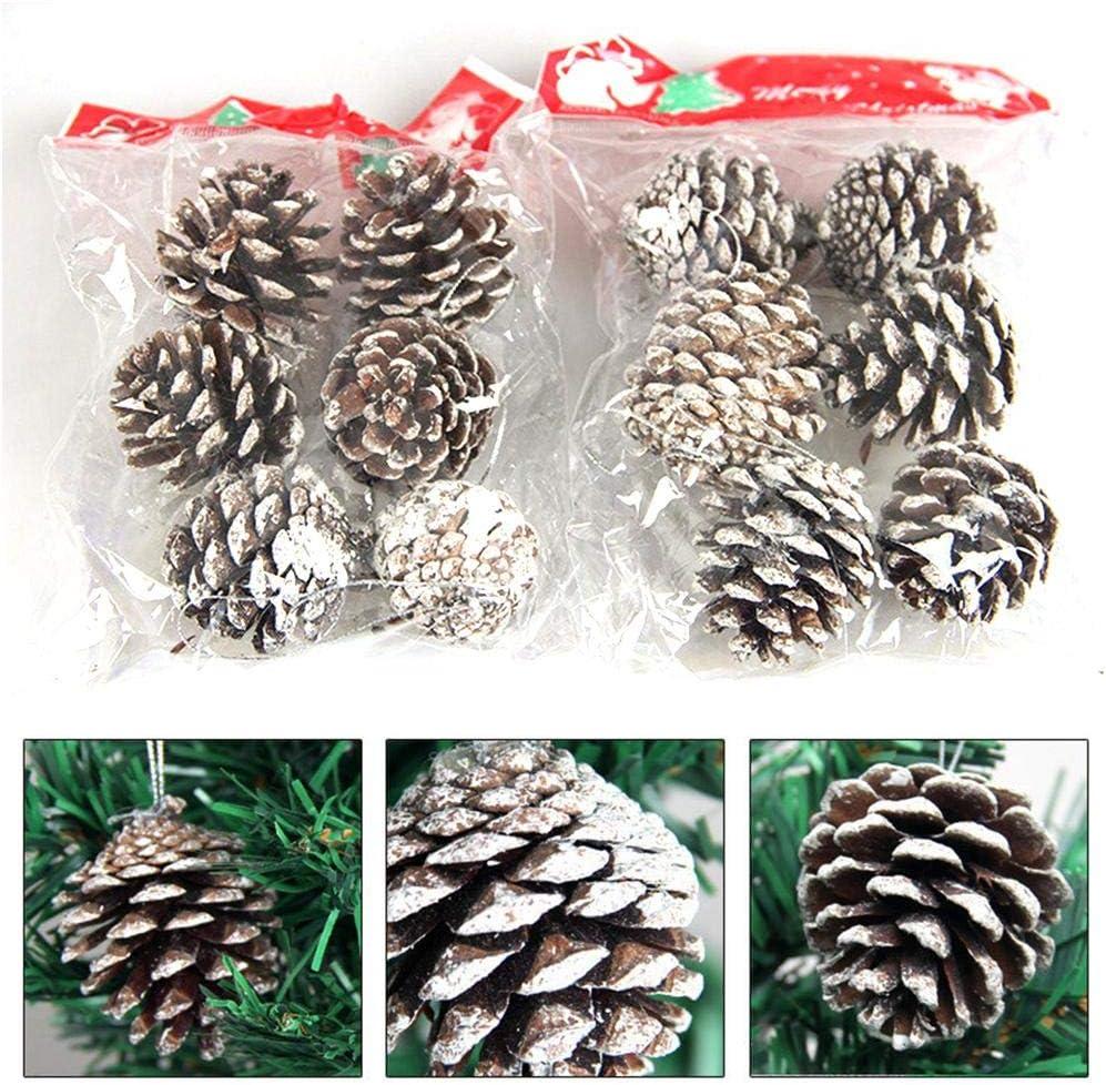 6PCS Christmas Tree Decoration Pine Cone Pendant,Natural Pine Cone Christmas Decoration,5CM,White