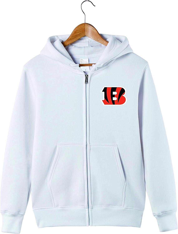 JJCat Mens Long Sleeve Hooded Letters Print Cincinnati Bengals Football Team Solid Color Zipper Hoodies