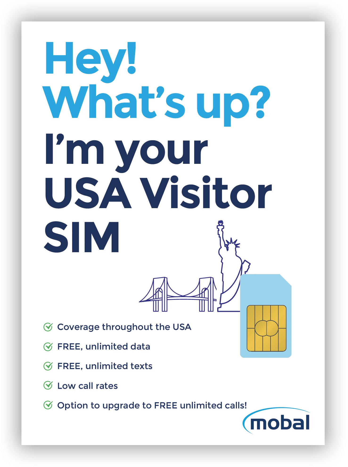 USA Visitor SIM Card by Mobal, Unlimited Data and Texts, No Contract by Mobal