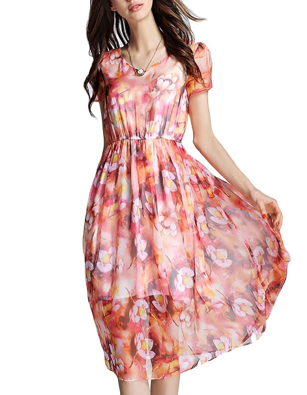 Damen Kleid Cocktailkeid Sommerkleid Partykleid Faltenkleid Brautjungfernkleid Ärmellos Rundhals Knielang Sexy Elegant von OOFIT