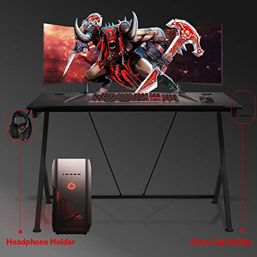 Aoxun Gaming Desk, 43.5 Gaming Table Home Computer Desk with Cup Holder and Headphone Hook Gamer Workstation Game Table, Writing Desk for Home Or Office 43.5 W x 27.6 D