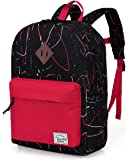Kids Backpack,Vaschy Big Boys' Preschool Backpack Toddler Small Kids Backpack Boys Kindergarten School Book Bags Medium Black and Red