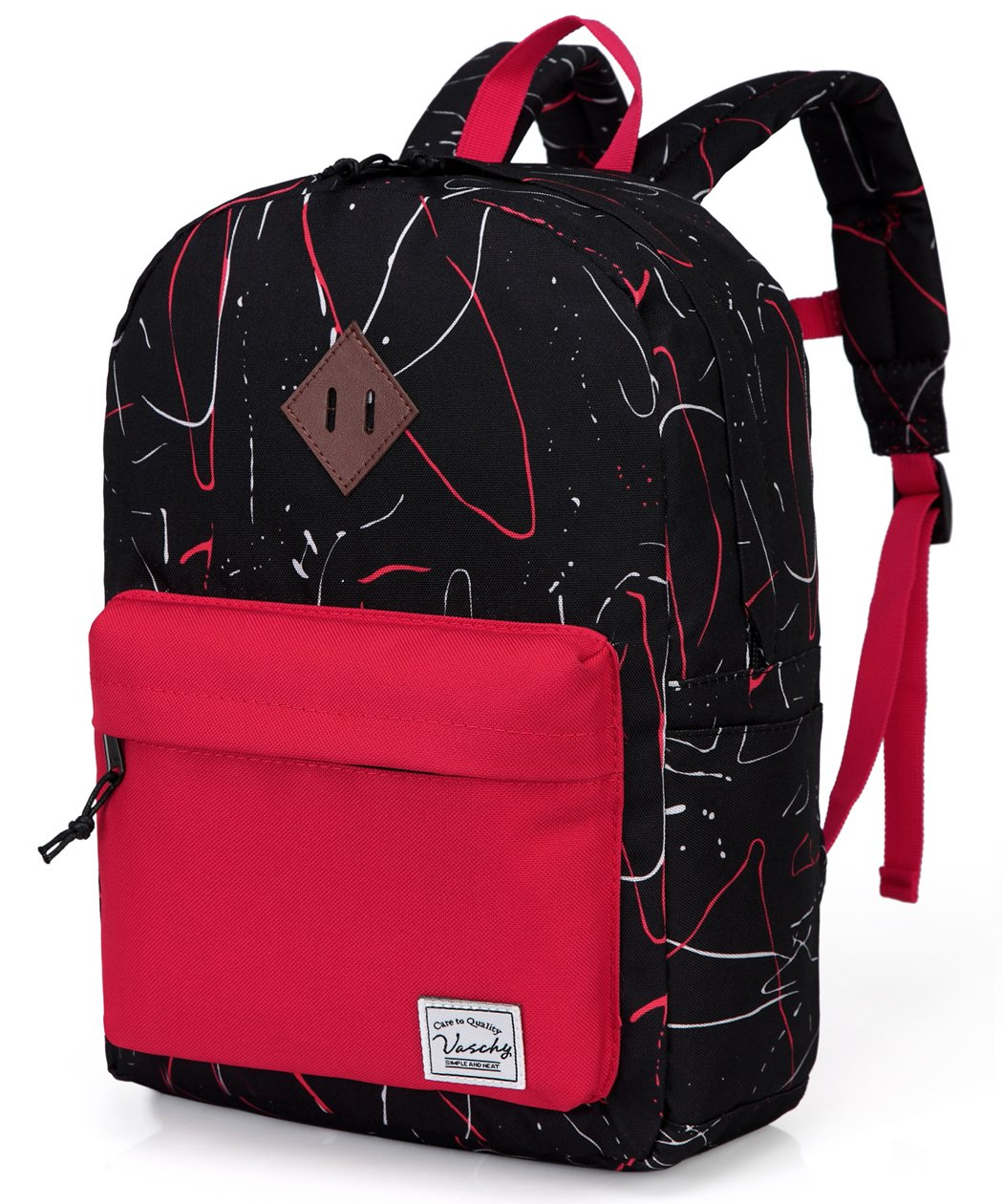 Preschool Toddler Backpack,Vaschy Little Kid Small Backpacks for Kindergarten Children Boys and Girls with Chest Strap in Black Red by VASCHY