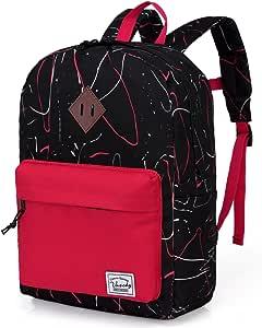 Kids Backpack,Vaschy Big Boys' Preschool Backpack Toddler Small Kids Backpack Boys Kindergarten School Book Bags Medium Black and Red