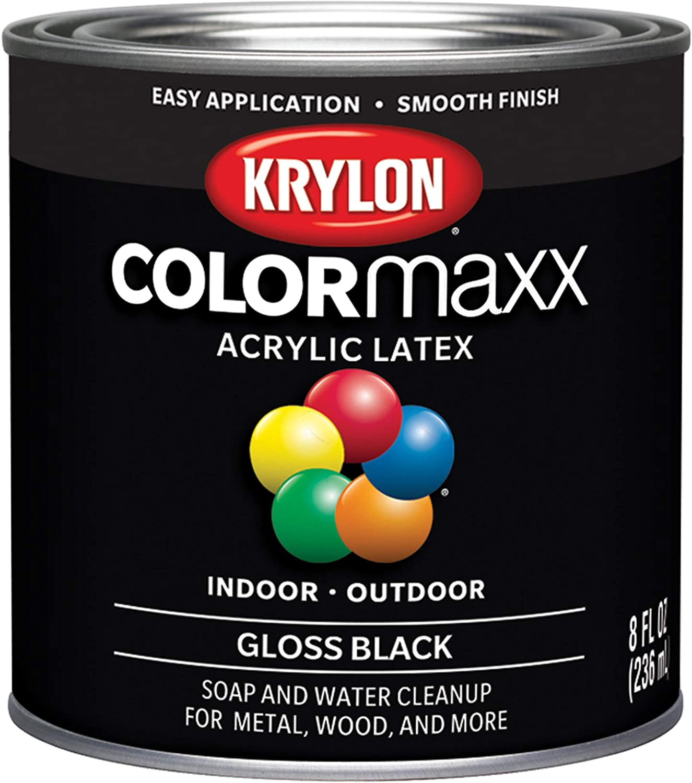 Krylon K05605007 COLORmaxx Acrylic Latex Brush On Paint for Indoor/Outdoor Use, 1/2 Pint, Black, 8 Fl Oz