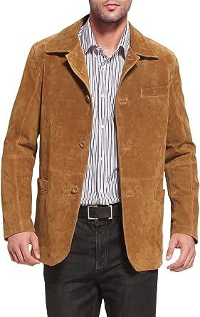 Men's Leather Blazer en Daim Marron italien classique