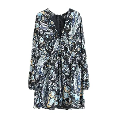 Paule Trevelyan NEW nova moda feminina mini vestido de impressão estilo bohe vestidos retro camisa do