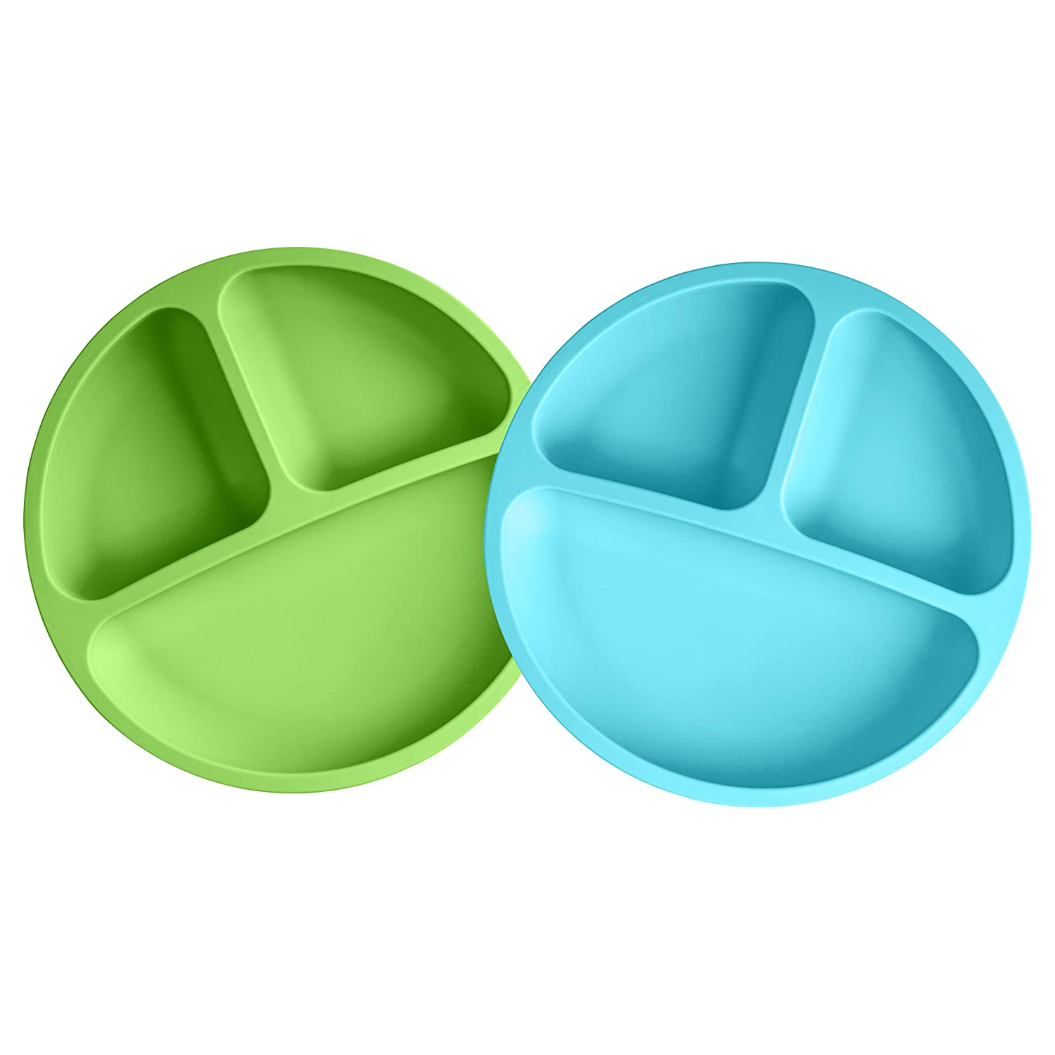 Baby Plates, Kmeivol Toddler Plates Without Suction Plates for Babies, 2 Pack Food Grade Baby Plate, Toddler Plate with 3 Divided Sections Separate Foods for Easy Baby Feeding (Blue/Green)
