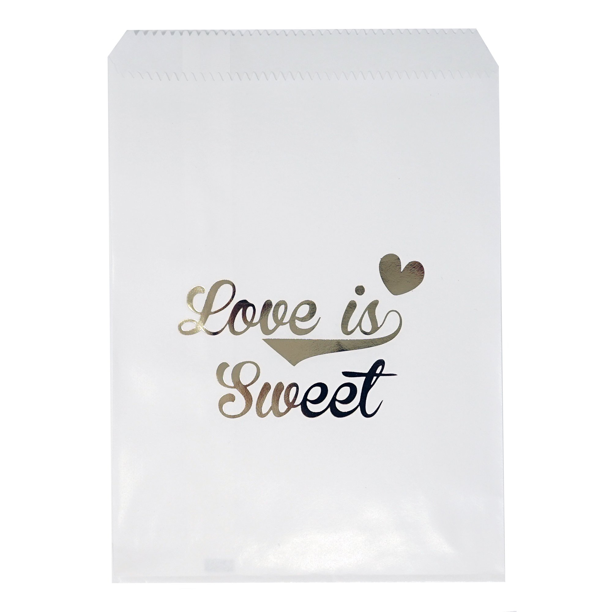 Chloe Elizabeth Food Safe Biodegradable Paper Candy Favor & Treat Bags For All Parties - 48 Count Assorted, 7x5 Size (Love Is Sweet, White & Gold)