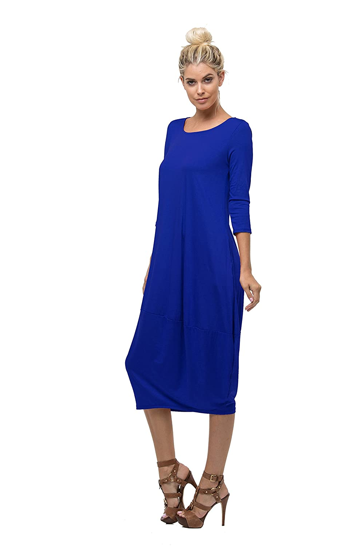 0cea654b Love In Women's 3/4 Sleeve Round Neck Bubble Hem Long Dress W/Pocket at  Amazon Women's Clothing store: