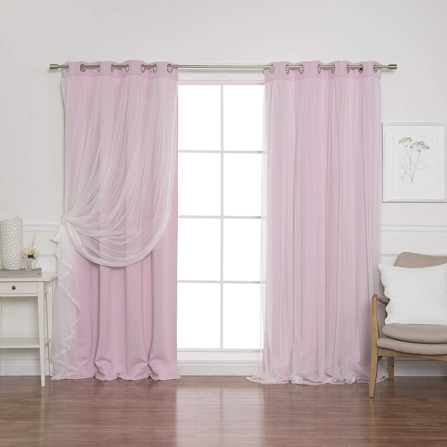 """Best Home Fashion Lace Tulle Overlay Thermal Insulated Solid Blackouts - Stainless Steel Nickel Grommet Top - Newpink - 52"""" W x 84"""" L - (Set of 2 Panels)"""
